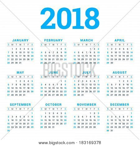 Calendar For 2018 Year On White Background. Week Starts On Sunday. 4 Columns, 3 Rows. Simple Vector