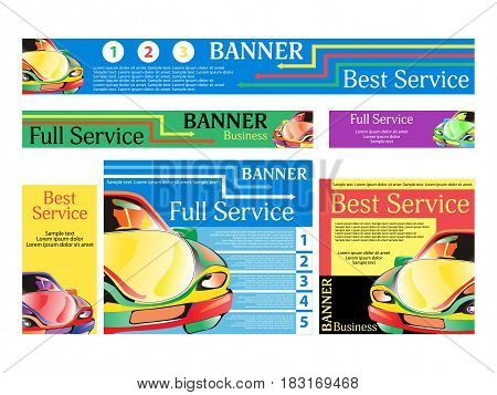 Car repair services. Set banners for the website. Templates standard size. Vector illustration.