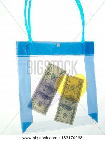 100 dollars in a transparent package on a white background