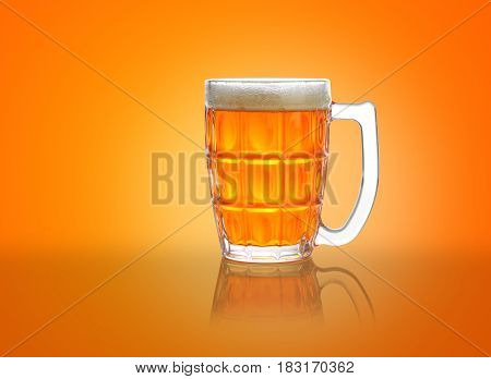 Beer Mug / Glass with froth with reflection