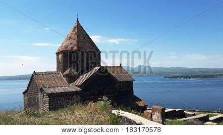The ancient monastery complex Sevanowank is located on the shore of the picturesque Lake Sevan
