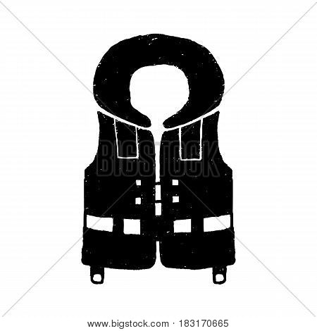Hand drawn textured diving life vest vector illustration.