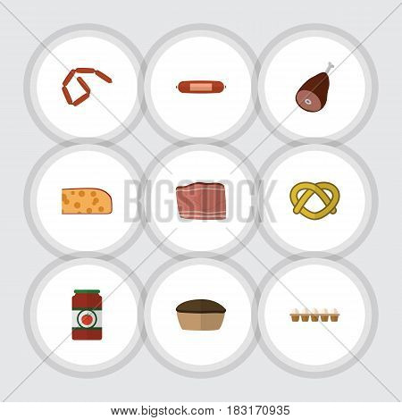 Flat Food Set Of Beef, Tart, Bratwurst And Other Vector Objects. Also Includes Tart, Biscuit, Sauce Elements.