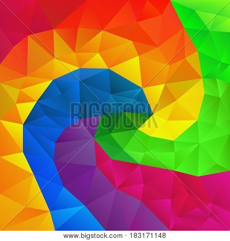 vector abstract irregular polygon background with a triangle pattern in full color spectrum rainbow spiral