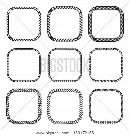 Vector rope set of square frames. Collection of thick and thin borders isolated on white background consisting of braided cord and string. For decoration and design in nautical style.