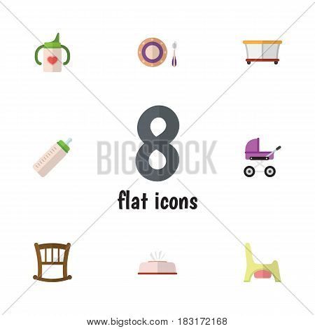 Flat Kid Set Of Feeder, Stroller, Baby Plate And Other Vector Objects. Also Includes Bottle, Tissue, Toilet Elements.