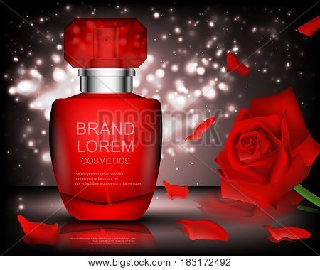 Romantic. Cosmetics. Set. White container on bokeh background. The black. Red Rose.