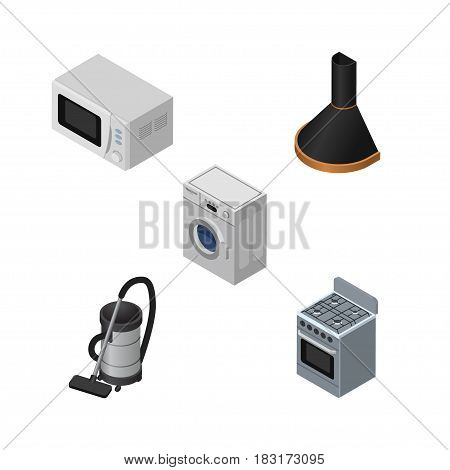 Isometric Electronics Set Of Microwave, Vac, Stove And Other Vector Objects. Also Includes Cooker, Hood, Extractor Elements.