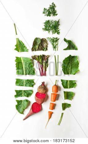 Healthy organic food. Raw cut vegetables, ingredients for borsh on white isolated studio background, top view, flat lay, object