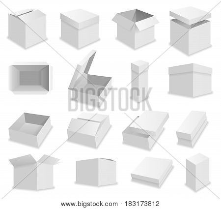 Vector blank packing box on white background. Realistic opened box.
