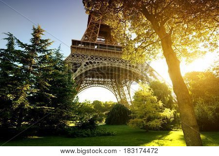 Park near Eiffel Tower in Paris, France