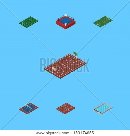 Isometric Sport Set Of American Football, Basin, Soccer And Other Vector Objects. Also Includes Basin, Volleyball, Rugby Elements.
