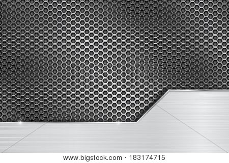 Metal perforated background with steel brushed plate. Vector 3d illustration