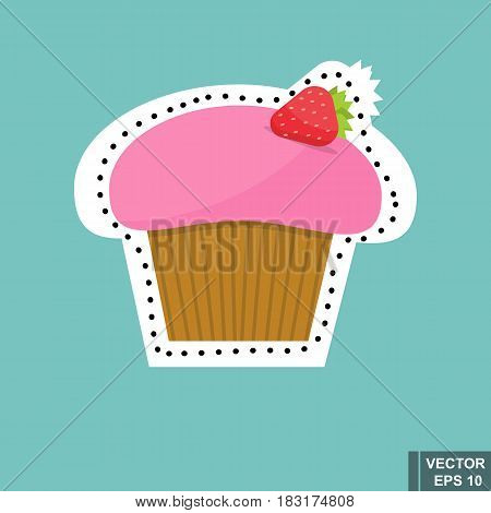 Delicious Fast Food Icon Cake. Isolated On A Blue Background. Sticker.