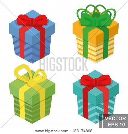 Set Of Gift Boxes. Isolated On White Background. Congratulations On The Holiday. Merry Christmas