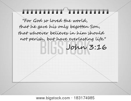 Bible verse on notebook isolated on white background. Vector illustration.