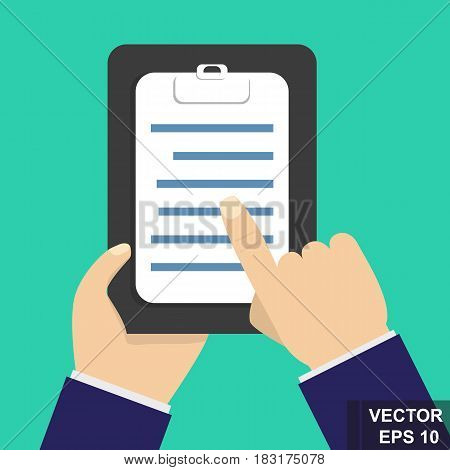 The Hand Holds The Tablet With A To-do List. Flat Vector Style.