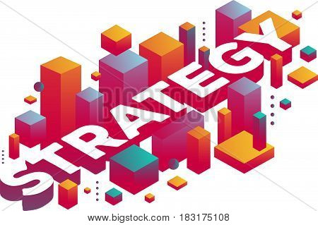 Vector creative illustration of three dimensional word strategy with abstract colorful shapes on white background. Business strategy concept. 3d style business design for web, site, banner, presentation