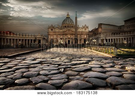 Road to Vatican cathedral at twilight, Italy