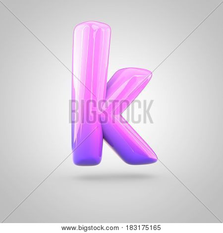 Glossy Pink And Violet Gradient Paint Alphabet Letter K Lowercase Isolated On White Background