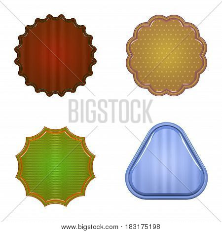 Blank badge set. Isolated on white background. 3D rendering illustration.