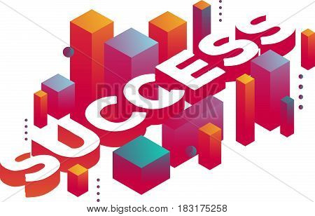 Vector illustration of three dimensional word success with abstract colorful shapes on white background. Business success concept. 3d style design for web, site, banner, presentation