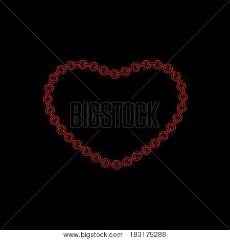 Chain frame.Heart. Isolated on black background. Sketch illustration.