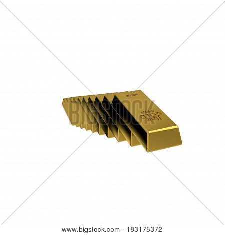 Stairway from golden bars. Isolated on white background. 3D rendering illustration.
