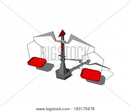 Scales in form of abstract bird. Isolated on white background. 3D rendering illustration.