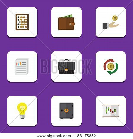 Flat Exchequer Set Of Billfold, Diagram, Interchange And Other Vector Objects. Also Includes Coin, Bank, Diagram Elements.