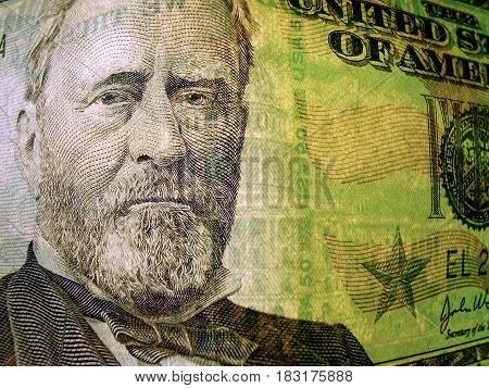 banknote 50 dollars costing on a table
