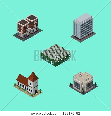 Isometric Urban Set Of Chapel, Office, House And Other Vector Objects. Also Includes Home, Depot, Warehouse Elements.