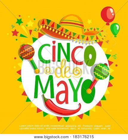 Cinco De Mayo, lettering on holiday background, poster, banner, greeting card for announcement, invitation and party.