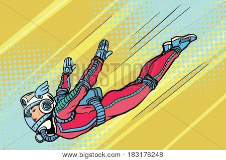 Girl superhero flying in a futuristic space suit. The woman jumps down. Pop art retro vector illustration