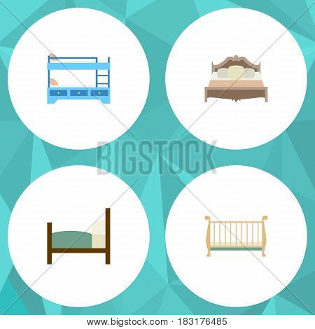 Flat Bed Set Of Bedroom, Bed, Bunk Bed And Other Vector Objects. Also Includes Bed, Bedroom, Bunk Elements.