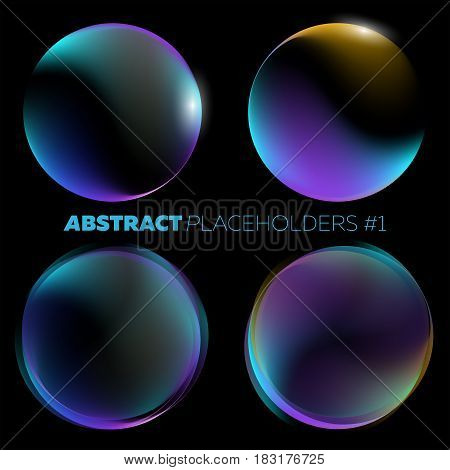 Vector Dark Abstract Background. Black Open Space with Shiny Round Futuristic Placeholder and Glow Effect. For Music Poster Night Club Flyer Infographic Brochure Web Banner.