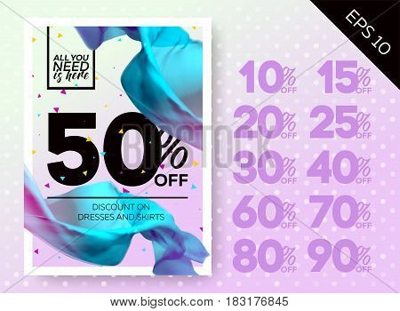 Tender Spring Sale Poster with Lavender Background Polka Dot Flying Silk. Ready Bright Vector Sale Template. Advertising for Shop Online Store Web Banner Poster Flyer.