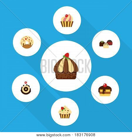 Flat Cake Set Of Cupcake, Doughnut, Cake And Other Vector Objects. Also Includes Doughnut, Patisserie, Confectionery Elements.
