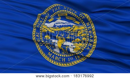 Closeup Nebraska Flag on Flagpole, USA state, Waving in the Wind, High Resolution