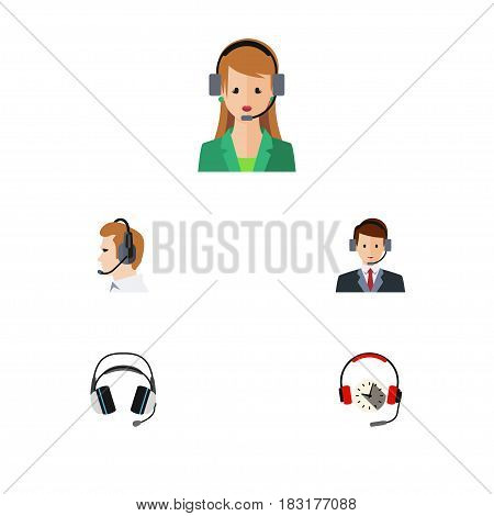 Flat Telemarketing Set Of Headphone, Telemarketing, Earphone And Other Vector Objects. Also Includes Secretary, Earphone, Headphone Elements.