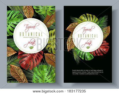 Vector tropical vertical banners with monstera and croton leaves on black background. Exotic design for cosmetics, spa, health care products, travel company. Can be used as wedding, summer background