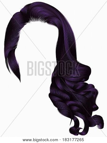 woman trendy long curly hairs wig purple colors . retro style . beauty fashion . realistic 3d .