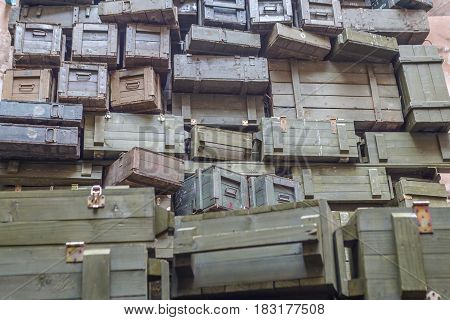 Stacks of old military ammunition boxes in specific ukrainian restaurant
