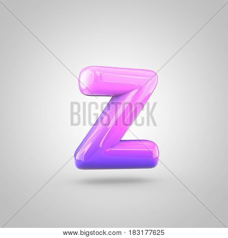Glossy Pink And Violet Gradient Paint Alphabet Letter Z Lowercase Isolated On White Background