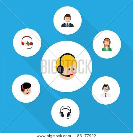 Flat Hotline Set Of Hotline, Secretary, Operator And Other Vector Objects. Also Includes Earphone, Call, Headphone Elements.