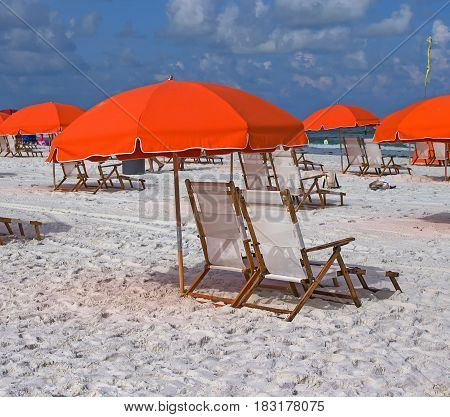 umbrellas and chairs on the beach in Clearwater Tampa