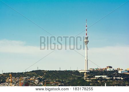 TV tower, television tower on top of a mountain