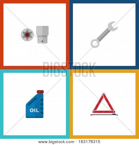 Flat Auto Set Of Petrol, Spanner, Warning And Other Vector Objects. Also Includes Key, Stop, Warning Elements.