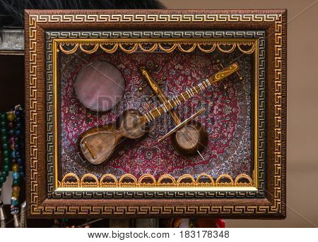 Tar, oriental national musical instrument, close up
