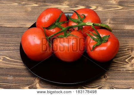Stem Of Tomatoes On Plate , Brown Vintage Background
